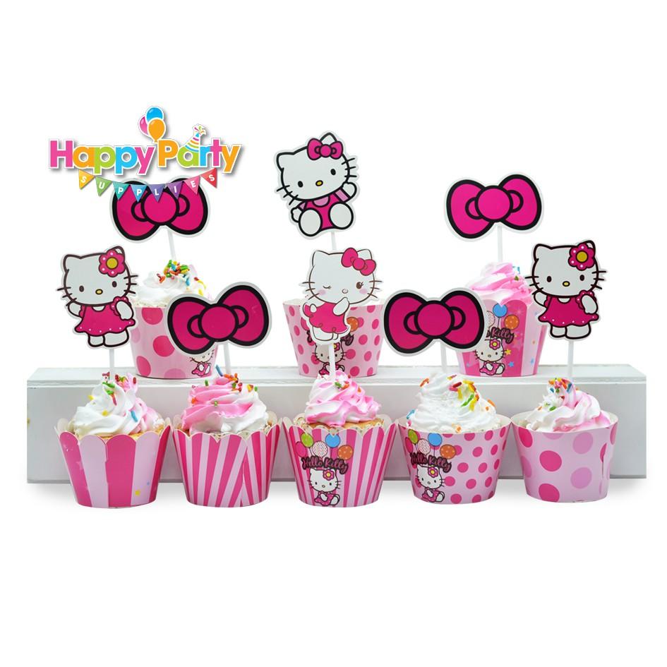 Tem cắm banh cupcake sinh nhật kitty shopphukiensinhnhat.com
