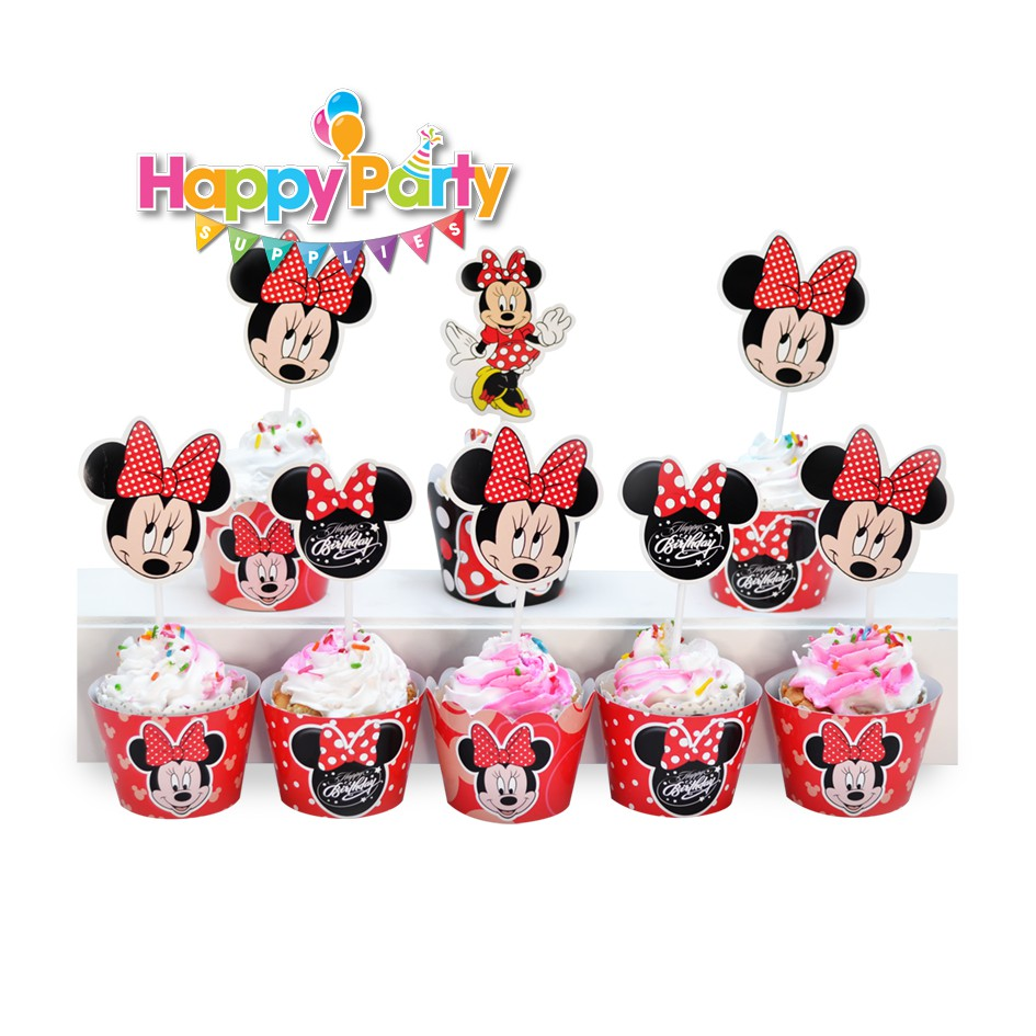 tem cắm bánh cupcake mickey đỏ shopphukiensinhnhat.com