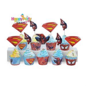 tem-cam-banh-cupcake-chu-de- spiderman shopphukiensinhnhat.com