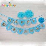 shopphukiensinhnhat.com Set xanh dương Gold Kim Tuyến  dây treo happy birthday