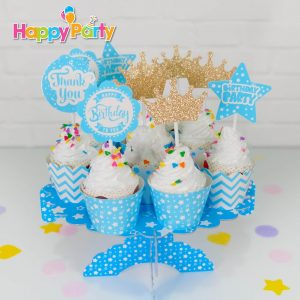 shopphukiensinhnhat.com Set xanh dương Gold Kim Tuyến tem cắm bánh cupcake