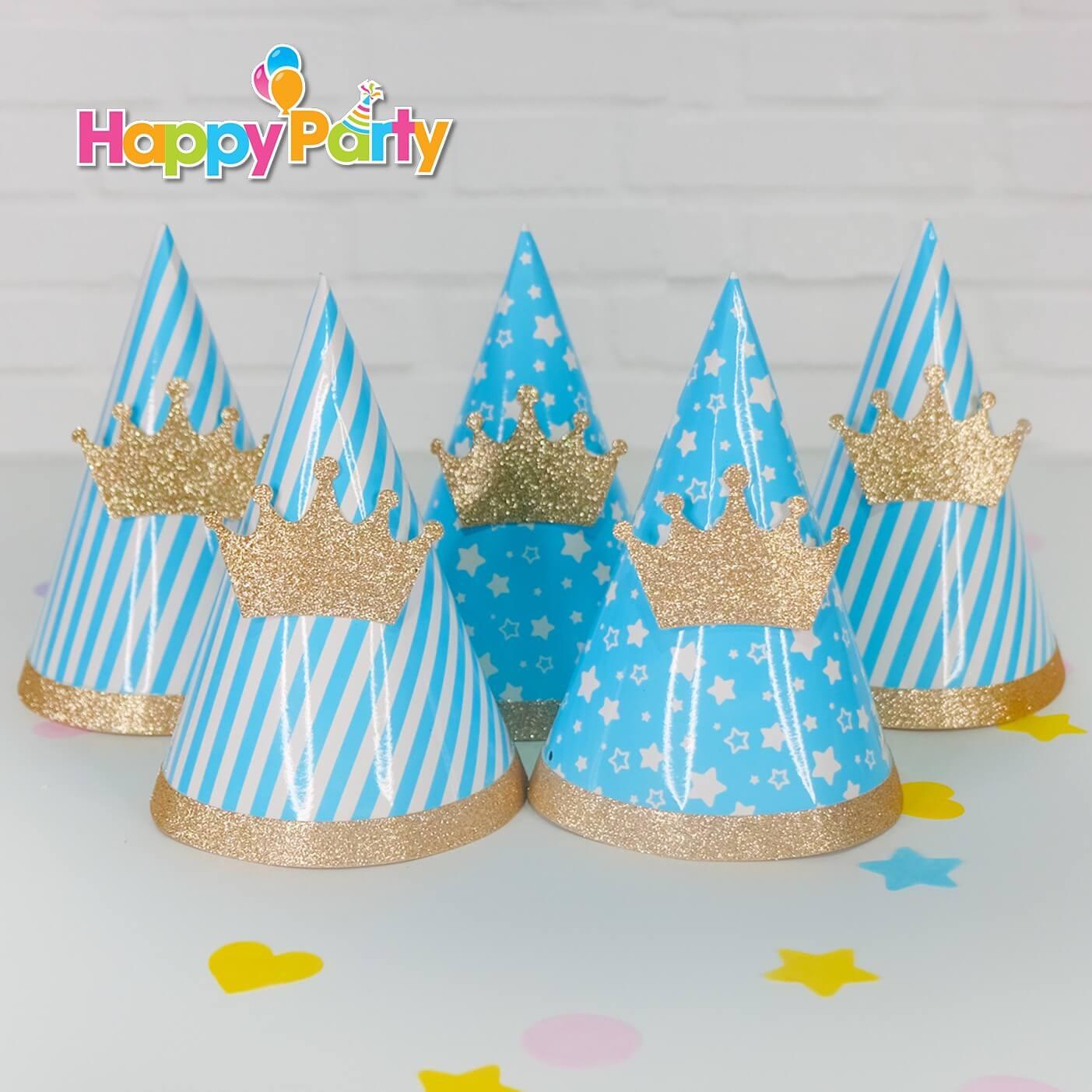 shopphukiensinhnhat.com Hộp Nón giấy sinh nhật Set xanh dương Gold Kim Tuyến
