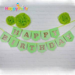 shopphukiensinhnhat.com set xanh la gold kim tuyen dây treo sinh nhật