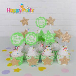 shopphukiensinhnhat.com set xanh la gold kim tuyen tem căm bánh cupcake
