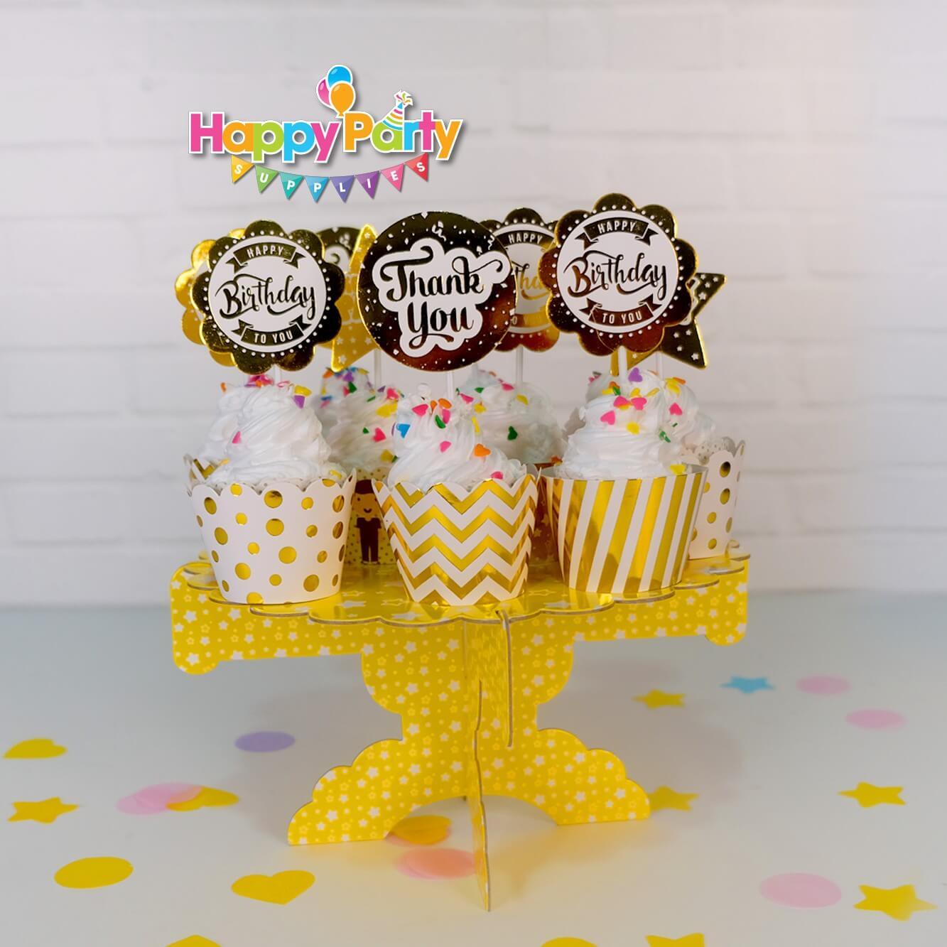 Set Gold ép kim tháp đựng bánh cupcake shopphukiensinhnhat.com