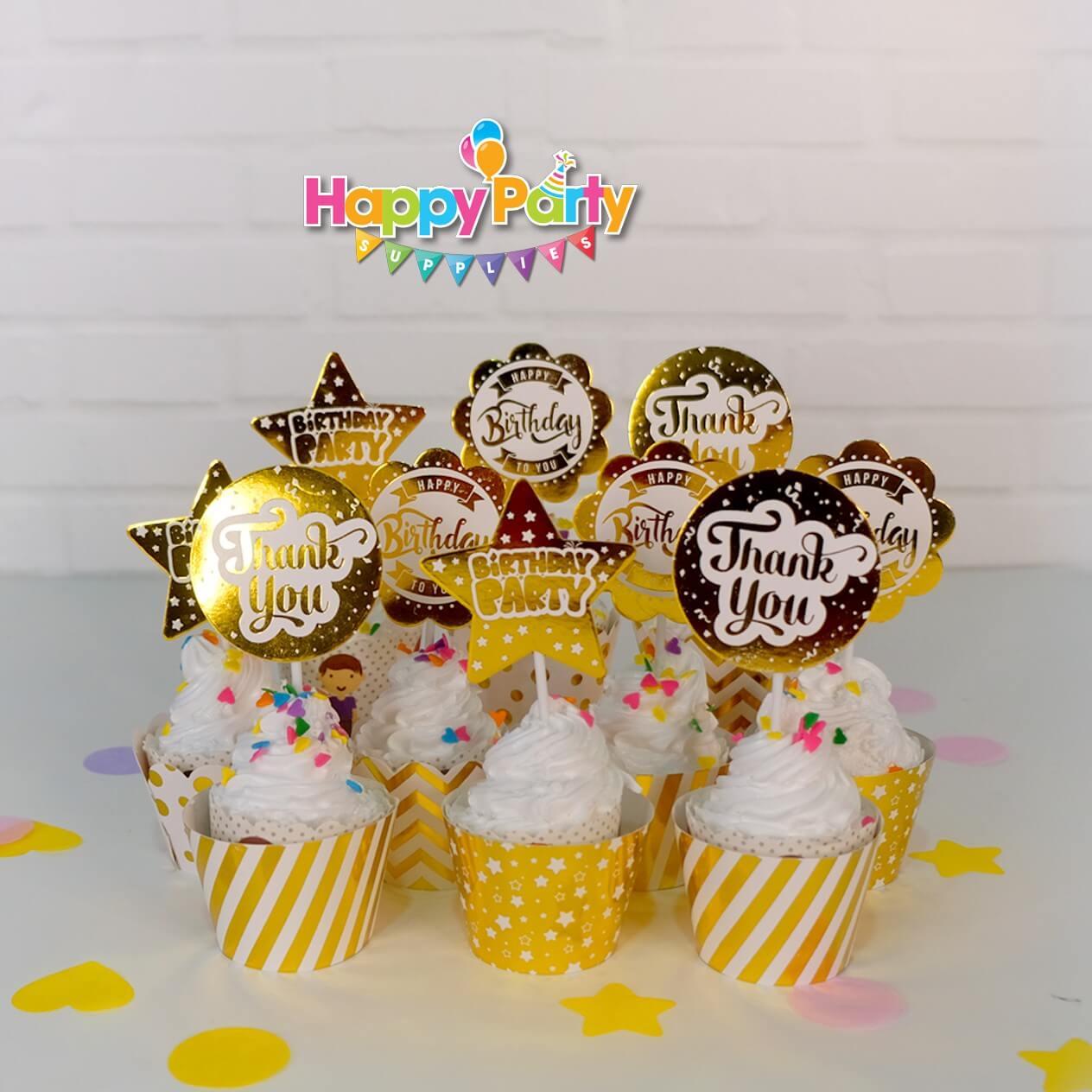 Set Gold ép kim tem cắm bánh cupcake shopphukiensinhnhat.com