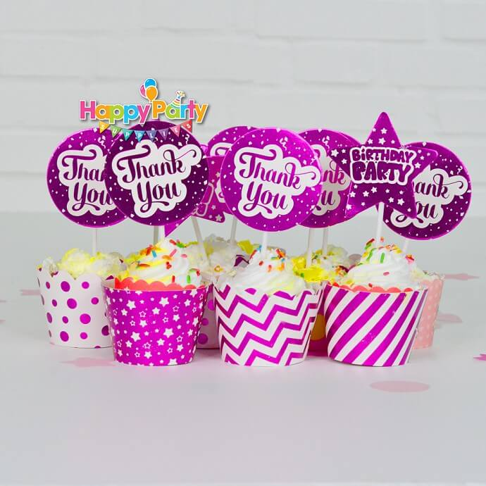 Set hồng ép kim tem cắm bánh cupcake shopphukiensinhnhat.com