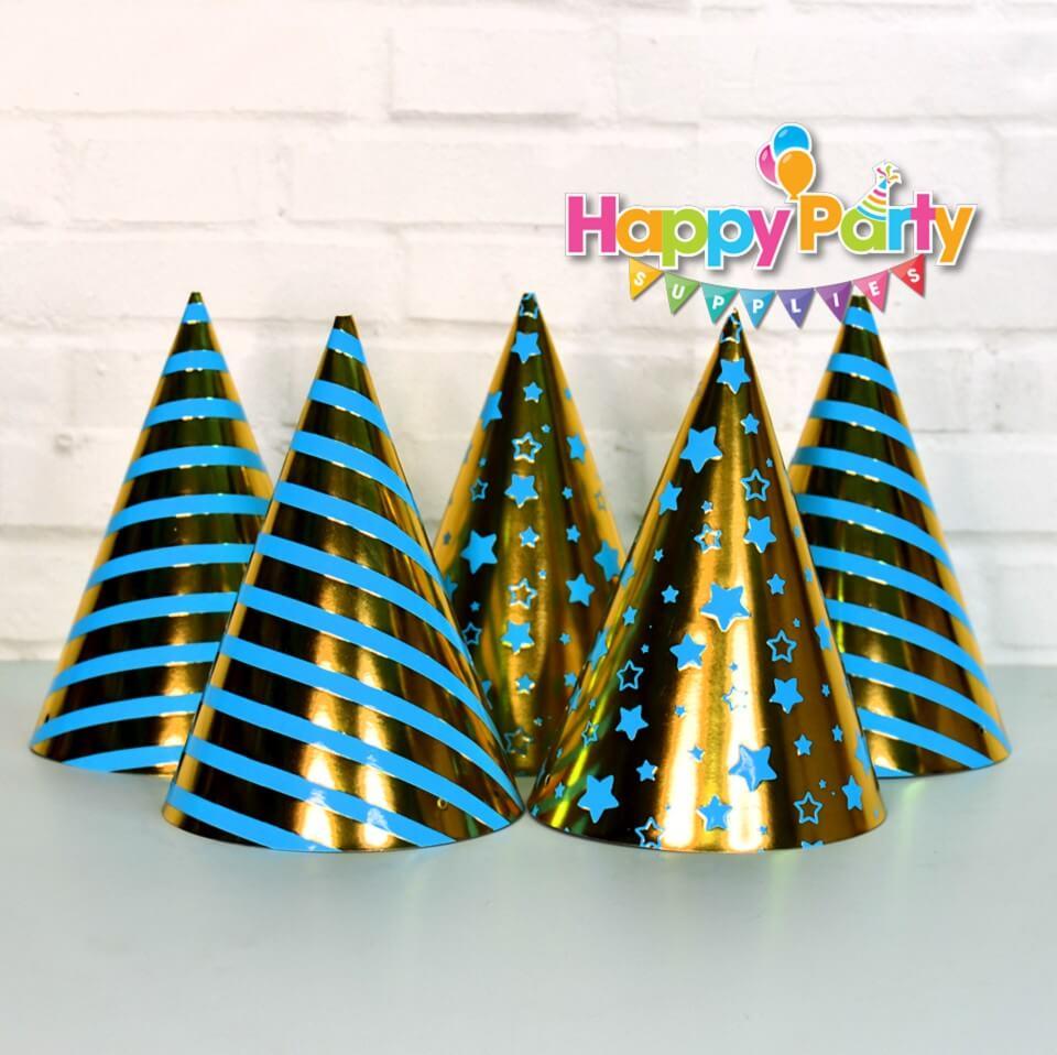 Xanh Dương Gold Ép Kim nón giấy sinh nhật shopphukiensinhnhat.com