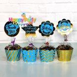 Xanh Dương Gold Ép Kim tem cắm bánh cupcake sinh nhật shopphukiensinhnhat.com