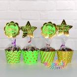Set Xanh là gold Ép Kim tem cắm bánh cupcake sinh nhật shopphukiensinhnhat.com