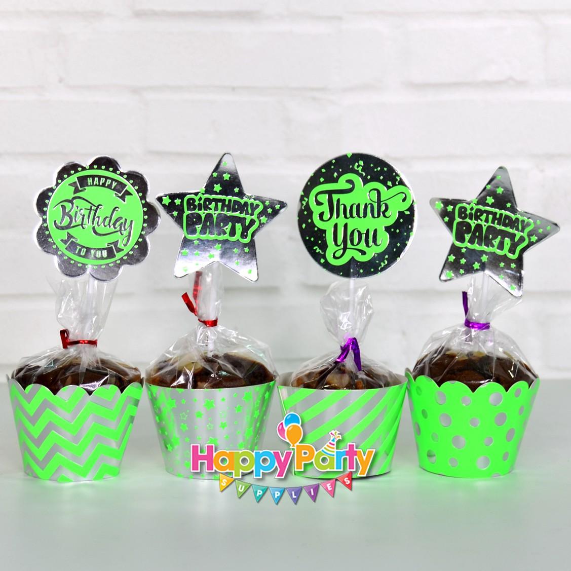 Xanh là Silver Ép tem cắm bánh cupcake shopphukiensinhnhat.com