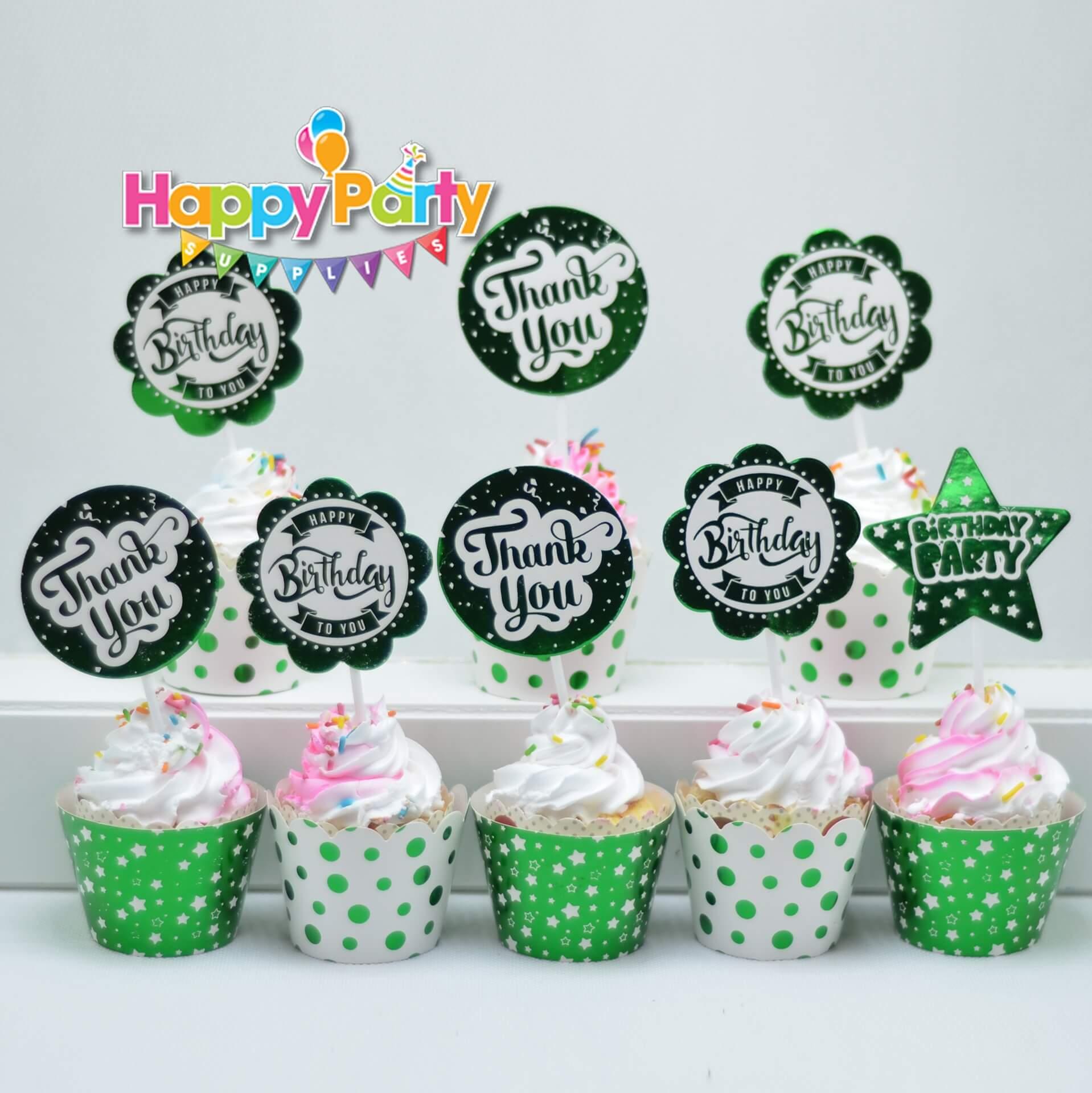 Set xanh lá ép kim tem cắm bánh cupcake shopphukiensinhnhat.com