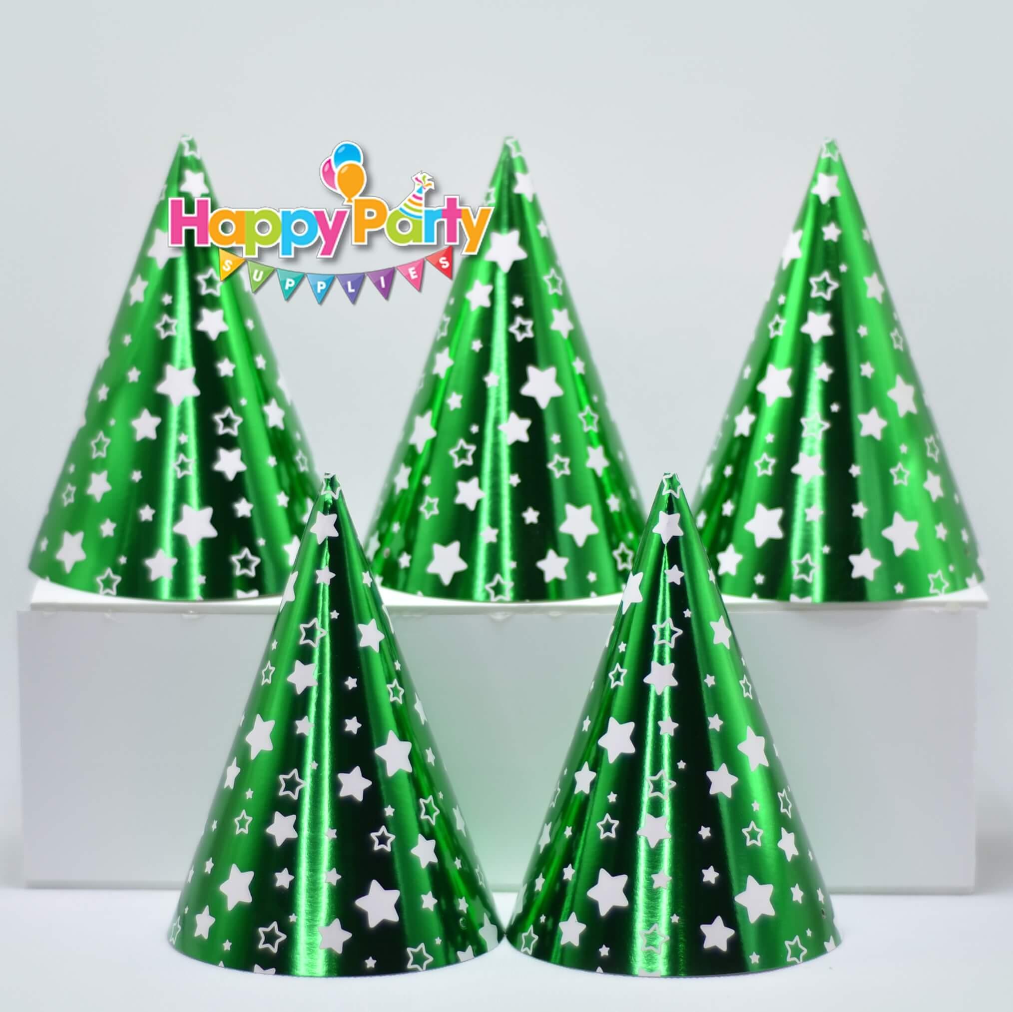 Set xanh lá ép kim nón giấy sinh nhật shopphukiensinhnhat.com